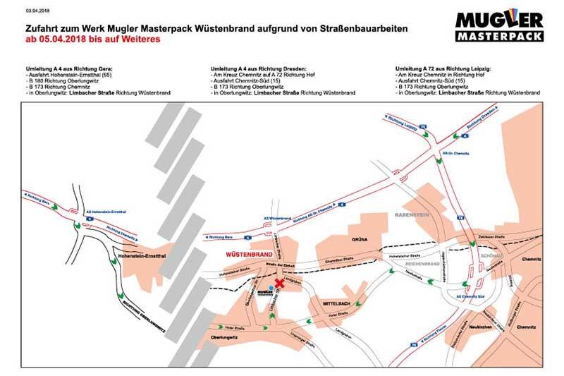 Anfahrt Werk Wuestenbrand Mugler Masterpack aufgrund Bauarbeiten